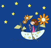 Moon girl. Moon princess by the moon in the sky Stock Image