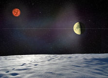 Moon glowing near the surface unknown planet Stock Photos