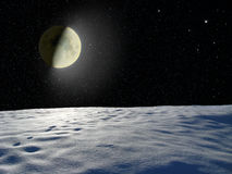 Moon Glowing Near The Surface Unknown Planet Royalty Free Stock Image