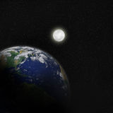 The Moon and Planet Earth in Space. The moon glowing on planet earth in space with starry background Stock Images