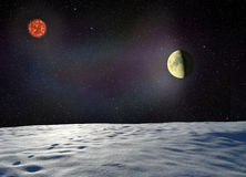 Moon glows the surface of unknown planet Royalty Free Stock Images