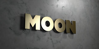 Moon - Gold sign mounted on glossy marble wall  - 3D rendered royalty free stock illustration Royalty Free Stock Photography