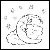 Moon, a graphical outline. Moon sleeping on a cloud with stars in the night sky vector illustration