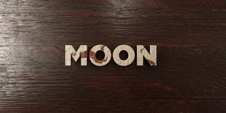 Moon - grungy wooden headline on Maple  - 3D rendered royalty free stock image Stock Photos