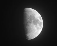 Moon. Half moon. Black and white photo Stock Photography