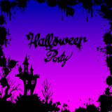 Moon halloween castle illustration horror night silhouette Royalty Free Stock Photo