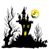 Moon halloween castle illustration horror night silhouette Stock Photography