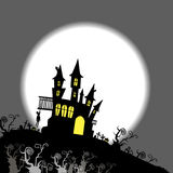Moon halloween castle illustration horror night silhouette Royalty Free Stock Images