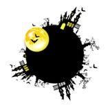 Moon halloween castle illustration horror night silhouette Royalty Free Stock Photos