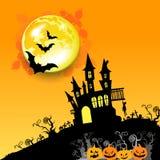 Moon halloween castle illustration horror night silhouette Royalty Free Stock Photo