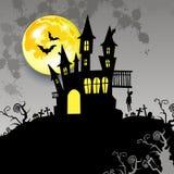 Moon halloween castle illustration horror night silhouette Stock Photos