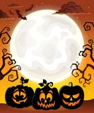 Moon with Halloween pumpkin silhouettes Royalty Free Stock Image