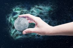 Moon in a hand Stock Image