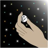 Moon in hand vector illustration