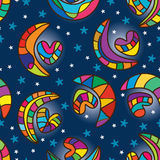 Moon heart seamless pattern Royalty Free Stock Photography