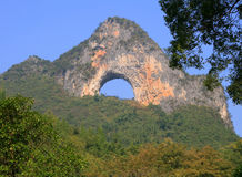 Moon Hill in Yangshuo, Guangxi Province Stock Photo