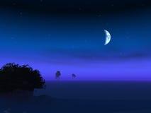 Moon on Horizon Dusk. Night moon over a foggy horizon dusk with trees and stars Stock Photo