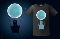 Moon hot air ballon with two kissing people, t-shirt design, modern print use for sweatshirts, souvenirs and other uses Stock Images