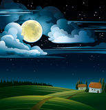 Moon and house Royalty Free Stock Images