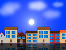 Moon Houses Shows Night Time And Apartment Royalty Free Stock Photo