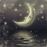 Moon i skyen royaltyfri illustrationer