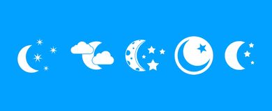 Moon icon blue set vector. Moon icon set. Simple set of moon vector icons for web design isolated on blue background Royalty Free Stock Photos