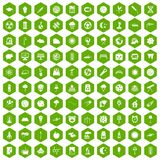 100 moon icons hexagon green. 100 moon icons set in green hexagon isolated vector illustration Royalty Free Stock Image