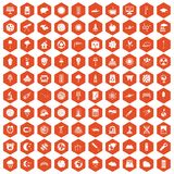 100 moon icons hexagon orange Stock Image