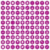 100 moon icons hexagon violet. 100 moon icons set in violet hexagon isolated vector illustration vector illustration