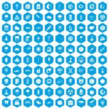 100 moon icons set blue. 100 moon icons set in blue hexagon isolated vector illustration vector illustration