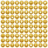 100 moon icons set gold. 100 moon icons set in gold circle isolated on white vector illustration Stock Image