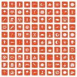 100 moon icons set grunge orange. 100 moon icons set in grunge style orange color isolated on white background vector illustration vector illustration