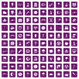 100 moon icons set grunge purple Royalty Free Stock Image