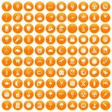 100 moon icons set orange. 100 moon icons set in orange circle isolated on white vector illustration Royalty Free Stock Photography
