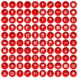 100 moon icons set red. 100 moon icons set in red circle on white vector illustration Stock Illustration