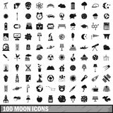 100 moon icons set, simple style Stock Photo