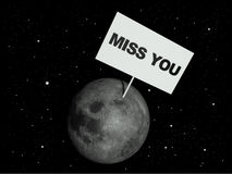 Moon illustration. Message board on moon with the text words Miss You. 3d render vector illustration
