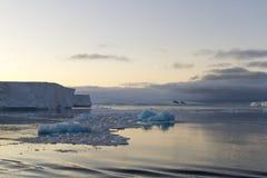 Moon im Himmel über tabellarischen Eisbergen, antarktischer Ton Stockbilder