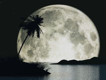 Moon island. 3D renderedimage of island at night with big moon behind it Royalty Free Stock Photography