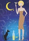 Moon juice. Women having weet moon juice coctail and sitting cat Stock Photo