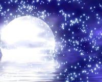 Moon l'affondamento nell'oceano Immagini Stock Libere da Diritti