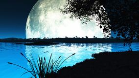 Moon Lake. Computer generated landscape of an impossibly large moon backlighting the scene and throwing everything into silhouette Stock Image