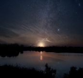 Moon lake. Night sky with rising full moon over the lake Royalty Free Stock Images