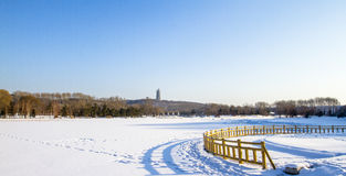 The moon lake park. After the heavy snow in winter Stock Images