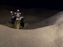 Moon Lander Horizontal. Model of the moon lander Stock Photo