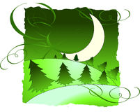 Moon landscape. Vector illustration of moon over fields and trees royalty free illustration
