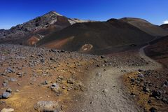 Moon landscape in Haleakala national park in Hawaii stock images