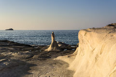Moon landscape made of white mineral formations on Milos island, Greece Stock Photo