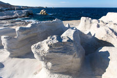 Moon landscape - mineral formations on the coast of Milos island in the Aegean sea Stock Photo