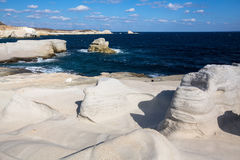 Moon landscape - mineral formations on coast of Milos island at Aegean sea Stock Photography
